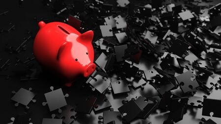 Strategy in investing money visualized with piggy bank and black puzzle pieces. 3d illustration.