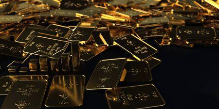 Rising gold rate. 3d illustration.