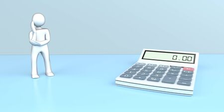 Thinking white cartoon character with a calculator on the blue background. 3d illustration.