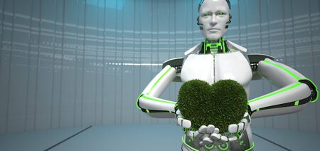 Humanoid eco robot with green heart of grass. 3d illustration.