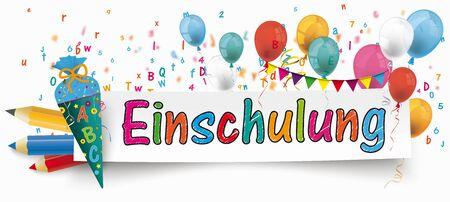 German text Einschulung, translate School Enrollment. Eps 10 vector file. Çizim