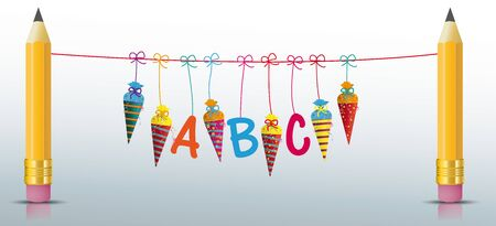 Back to scholl banner with pencils, candy cones and ABC letters. Eps 10 vector file. Çizim