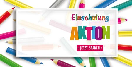 German  Einschulung Aktion, Jetzt Sparen, translate Back To School Sale, Buy Now.   vector file. 일러스트