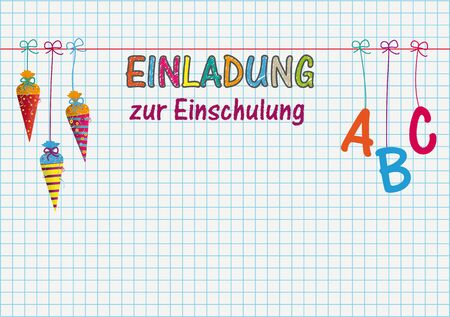 German text Einladung zur Einschlung, translate Invitation to School Enrollment. Eps 10 vector file. Illustration