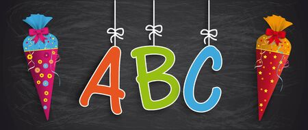 Blackboard with hanging letters ABC and 2 candy cones. Eps 10 vector file. Çizim