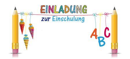 German text Einladung zur Einschlung, translate Invitation to School Enrollment. Eps 10 vector file. Çizim