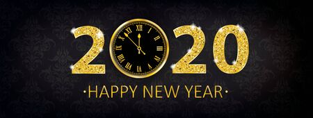 Black banner with clock and text Happy New Year. Eps 10 vector file. Çizim