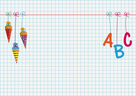 School enrollment banner with hanging candy cones and letters ABC. Eps 10 vector file.