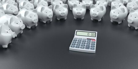 White piggy banks with the calcualtor on the dark table. 3d illustration.