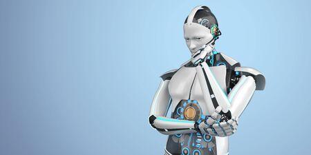 Thinking humanoid robot on the blue background. 3d illustration.