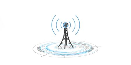 Antenna with globe on the white background. 3d illustration. Stok Fotoğraf