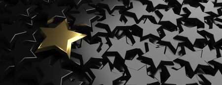 Golden star on the black stars. 3d illustration. Stok Fotoğraf