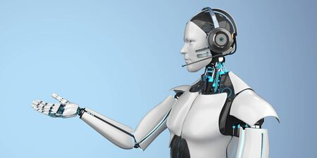 Humanoid robot as a callbot with a headset. 3d illustration. Stok Fotoğraf