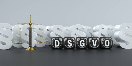 German text DSGVO, translate GDPR, General Data Protection Regulation. 3d illustration.