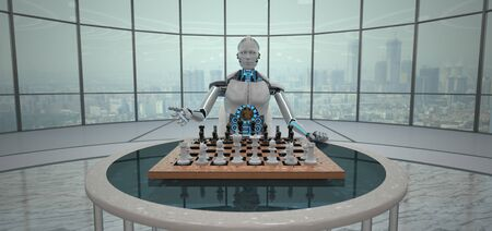 White humanoid robot with a chessboard on the table. 3d illustration. Stok Fotoğraf