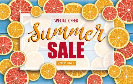 Summer sale background with orange fruits.    vector file.