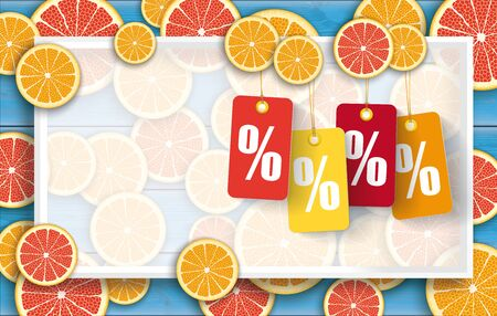 Background with orange fruits and price stickers with percenst.    vector file.