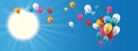 Blue sky header with sun and colored balloons. Eps 10 vector file.