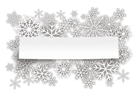 White snowflakes with paper stick on the white background. Eps 10 vector file. Çizim
