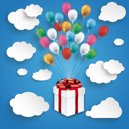 Paper clouds and hanging gift box with colored balloons on the blue background. Eps 10 vector file.