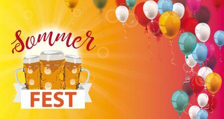 German text Sommerfest, translate Summer Fair. Eps 10 vector file.