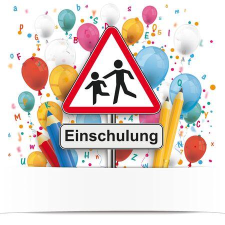 German  Einschulung, translate Enrollment.   vector file.