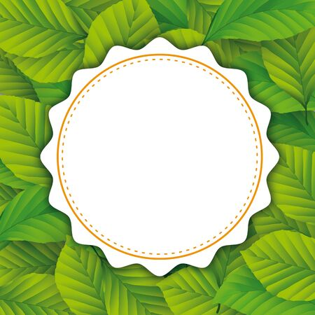Cover with green beech leaves and white round emblem. Eps 10 vector file.