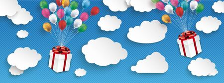 Paper clouds and hanging gift boxes with colored balloons on the blue background. Eps 10 vector file.