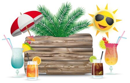 Cocktails, sun, sunshade with the wooden board. Eps 10 vector file. Çizim