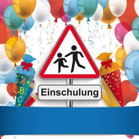 German  Einschlung, translate Enrollment.   vector file. Çizim