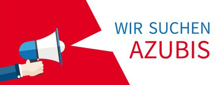 """Tekst niemiecki """"Wir Suchen Azubis"""", przetłumacz """"Szukamy praktykantów"""". Plik wektorowy EPS 10."""