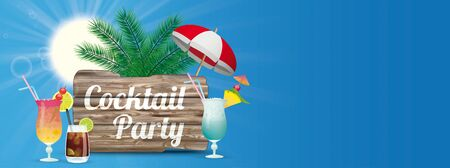 Cocktail party header with cocktails, sun, palms and blue sky.    vector file.