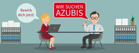 German text Wir Suchen Azubis, translate We are looking for apprentices. Eps 10 vector file. Çizim