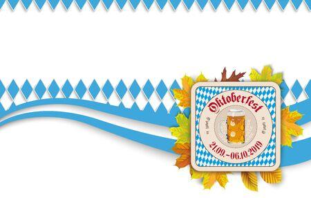 German  O zapft is and Oktoberfest, translate on tap and Oktoberfest. Çizim
