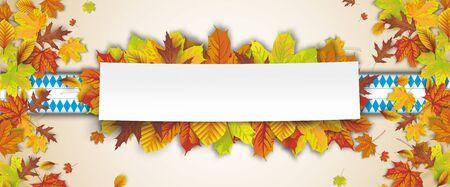 Oktoberfest header with autumn foliage and bavarian ribbon.    vector file.
