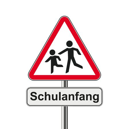 German text Schulanfang, translate Back To School.   vector file.