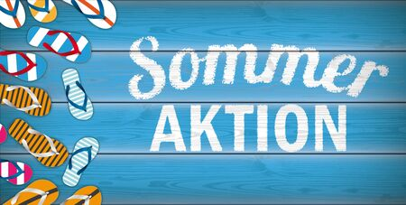 German text Sommer Aktion, translate Summer Sale.  Eps 10 vector file.