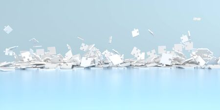 Falling white puzzle pieces on the blue background. 3d illustration.