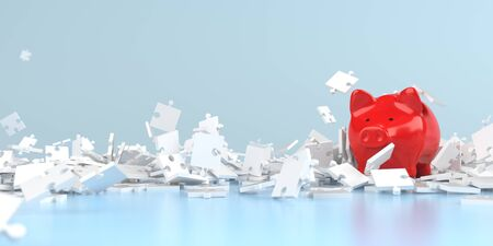 A red piggy bank between white puzzle pieces. 3d illustration.