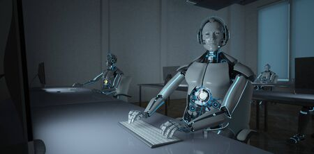 Humanoid robot in a call center. 3d illustration.