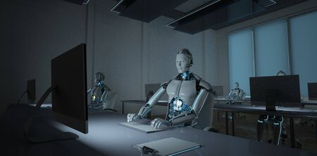 Humanoid robots working in the dark open space office. 3d illustration. Stok Fotoğraf