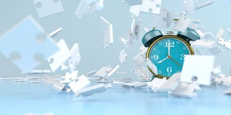 Alarmer with white puzzle pieces on the blue background. 3d illustration. Stok Fotoğraf