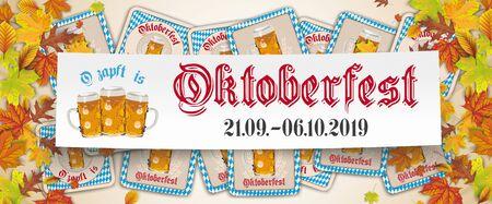 German text O zapft is and Oktoberfest, translate on tap and Oktoberfest. Eps 10 vector file. Stok Fotoğraf