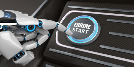 Robot pushes the button with the text Engine Start with his hand. 3d illustration. Stok Fotoğraf
