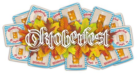Oktoberfest header with autumn foliage.    vector file.