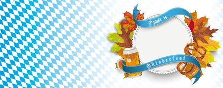 German text O zapft is and Oktoberfest, translate on tap and Oktoberfest. Eps 10 vector file. Çizim