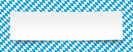 Rhombus structure with bavarian national colors and white paper banner. Eps 10 vector file.