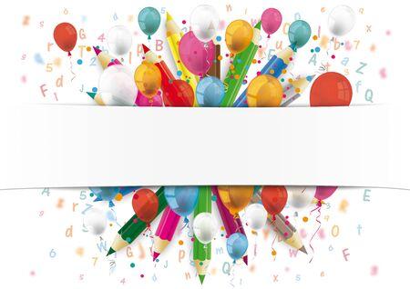 White paper banner, letters, numbers, colored pencils and colored balloons.    vector file. Çizim