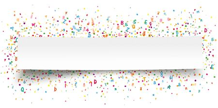 White paper banner with colored confetti, letters and numbers. Eps 10 vector file.