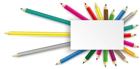 Colored pencils with rectangle banner on the white background.   vector file. 일러스트